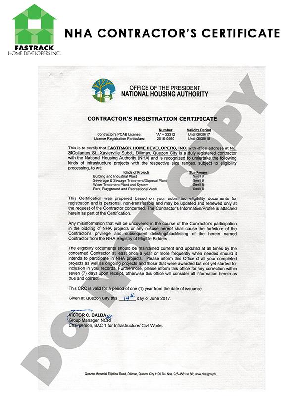 Registration Certificate Licenses Fastrack Home Developers Inc